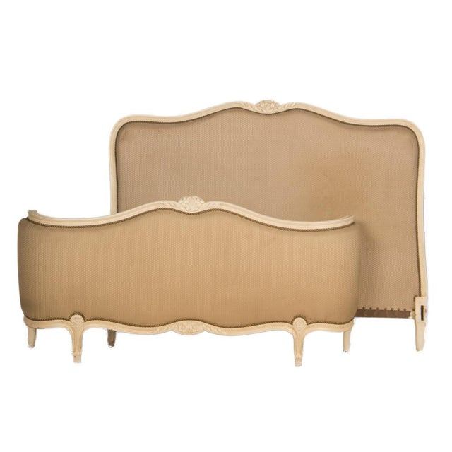 Paint 1950s Louis XV Style Queen Size Painted Bedframe With Curved Footboard For Sale - Image 7 of 8