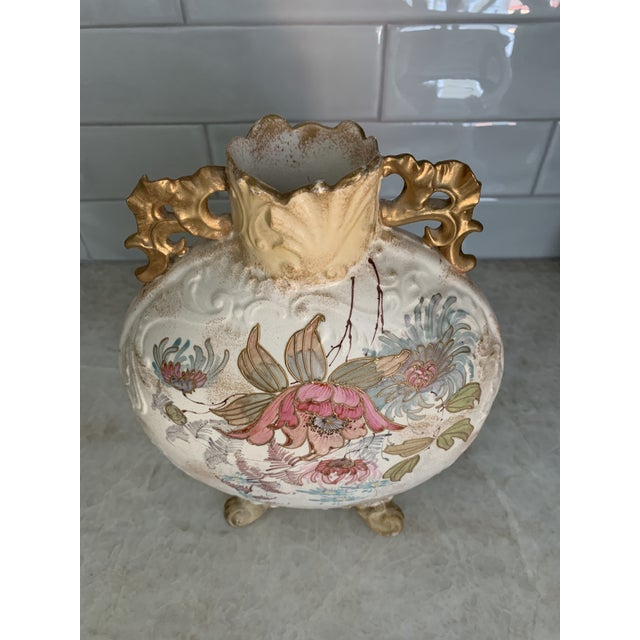 Rare antique English Victorian hand-painted Samuel Moore Chinese-style moon vase, footed with ornate gold handles and...