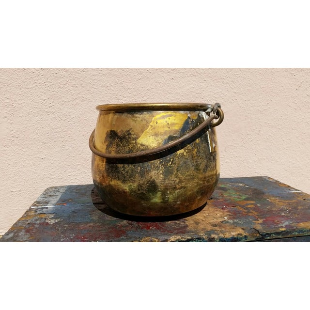 Large Brass Handled Pot - Image 2 of 6
