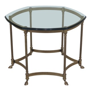 Labarge Brass & Glass Hoof Foot Occasional Table For Sale
