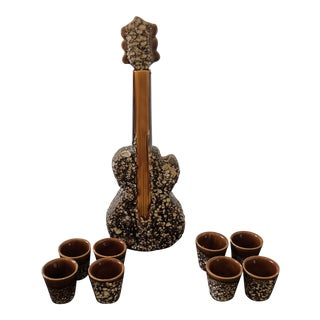 1950s French Vallauris Pottery Guitar Decanter and Cups - Set of 9 For Sale