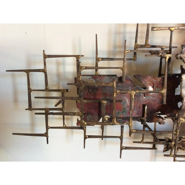 """Huge 72""""wide Signed Silas Seandel Brutalist Nail Sculpture Wall Art Mid Century For Sale - Image 11 of 13"""