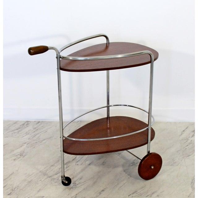 1940s Art Deco Modern Chrome & Wood 2-Tier Bar Serving Server Cart Treitel Gratz 1940s For Sale - Image 5 of 12
