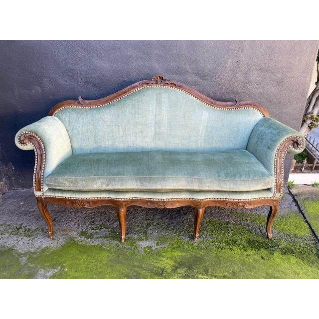 Late 18th C. To Early 19th C. French Walnut Settee With Green Chenile For Sale - Image 12 of 12