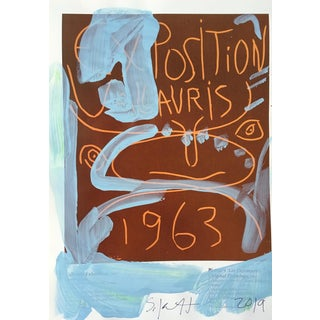 Framed Picasso Poster Painting by Sean Kratzert 'Blue 63' For Sale
