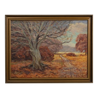 Fall Tree Painting by Maleren Jens Aabo 1947 For Sale