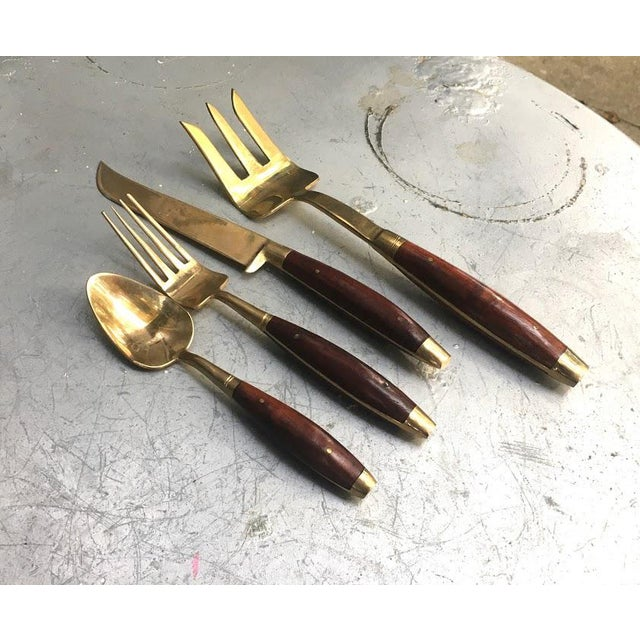 1950s Mid Century Bronzed Nickel & Wood Flatware Set in Box - Set of 18 For Sale - Image 4 of 8