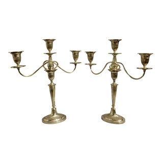 Silver on Copper Mid-19th Century 3-Light Candelabras - a Pair For Sale
