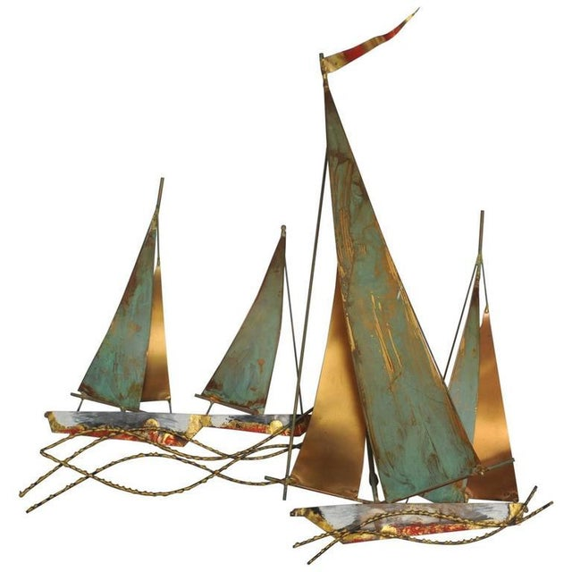 Signed Curtis Jere` Brutalist Period Sailboat Wall Sculpture, 1969 For Sale In Nantucket - Image 6 of 6