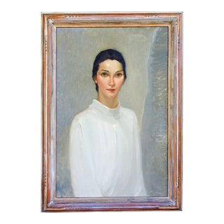 Stunning 1930's Portrait Painting of Woman For Sale