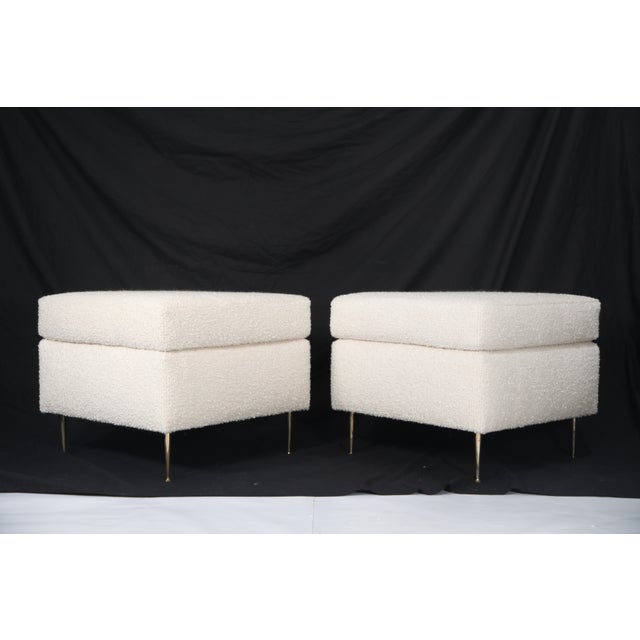 1950s Pair of Italian Mid-Century Modern White Boucle Ottomans on Brass Legs For Sale - Image 5 of 12