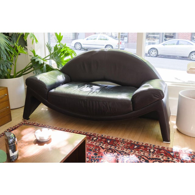 style: post modern, mod, sofa, couch, loveseat material: leather (black), metal accents origin: Italy age: vintage...