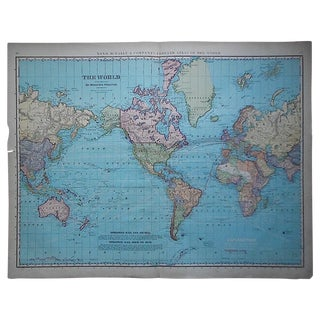 "Antique World Map-27.5""x22.5"" For Sale"