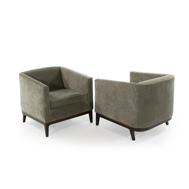 Fiber Mid-Century Modern Tub Chairs in Chenille For Sale - Image 7 of 12