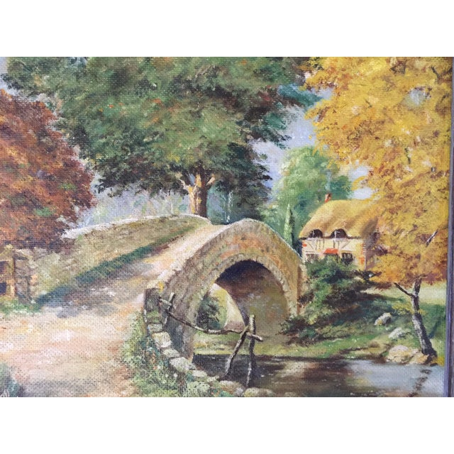 Vintage oil painting purchased at an antique market near London. Subject matter is an old stone bridge over a stream...