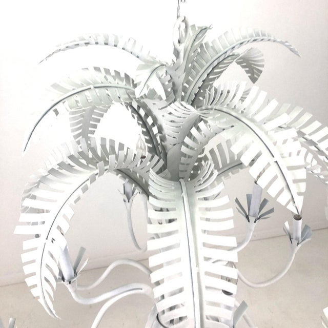 12-light Palm Chandelier by Currey & Company. Hand painted in a matte white finish. Statement piece. Wired and ready to be...