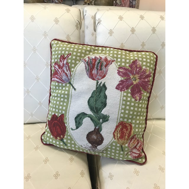 Early 20th Century Antique Tulip Needlepoint Pillow For Sale - Image 4 of 4