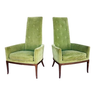 Pair Mid-Century Highback Armchairs For Sale