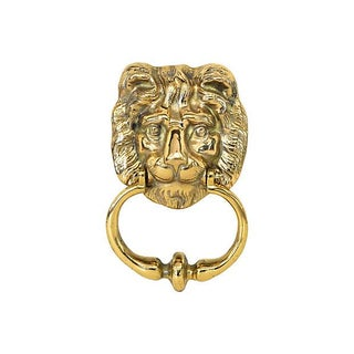 Solid Brass Lion's Head Door Knocker For Sale
