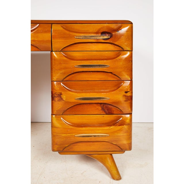 Midcentury Sculptured Pine Desk by the Franklin Shockey Company For Sale - Image 9 of 13