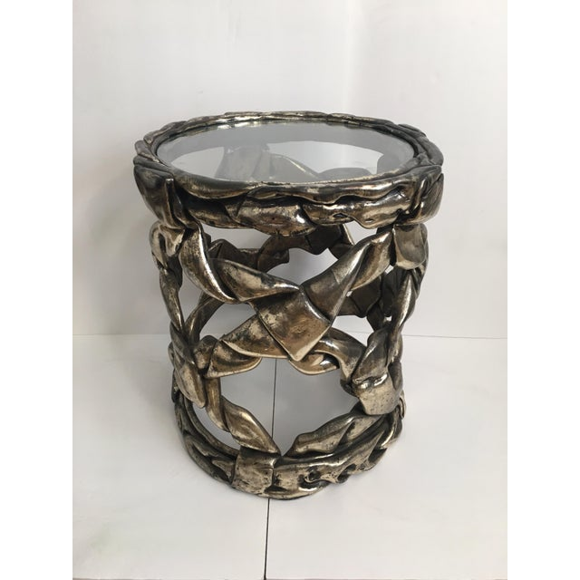 Hollywood Regency Silver Leaf Ribbon Drinks Tables, Style of Tony Duquette For Sale - Image 11 of 13