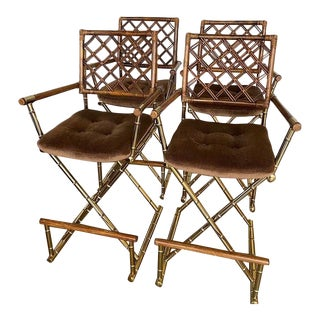 1970s Faux Bamboo and Rattan Barstools - Set of 4 For Sale