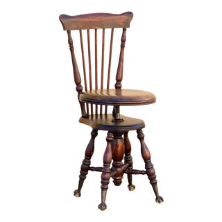 Antique Music Stool With Claw and Glass Ball Foot For Sale