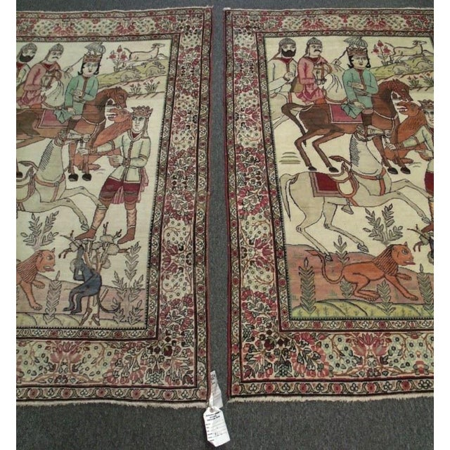 Traditional Late 19th Century Antique Handmade Pictorial Rugs - a Pair For Sale - Image 3 of 13