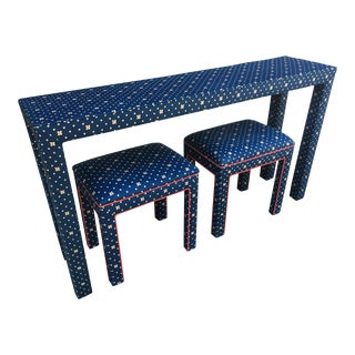 1970s Mediterranean Blue Upholstered Parsons Table With Matching Benches - 3 Pieces For Sale