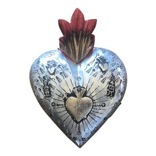 Sacred Heart Metal and Wood Milagro Wall Hanging For Sale