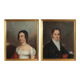 Oil on Canvas Early 19th Century Portraits of a Man and Woman - A Pair For Sale