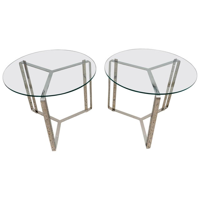 Metal Glass and Steel Round End Tables - a Pair For Sale - Image 7 of 7