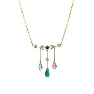 Edwardian 18k Gold Necklace With Multi Gem Drops For Sale