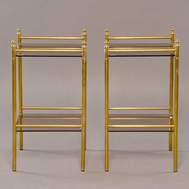 Pair of Mid-Century Brass and Glass Side Tables For Sale - Image 10 of 10