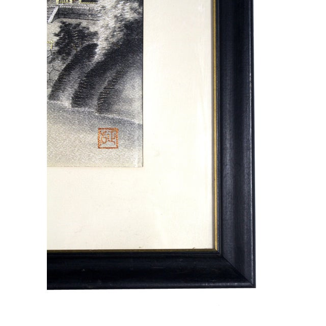Asian Framed Early 1900's Japanese Pagoda Pictorial Entirely Hand Embroidered Silk, Signed For Sale - Image 3 of 7