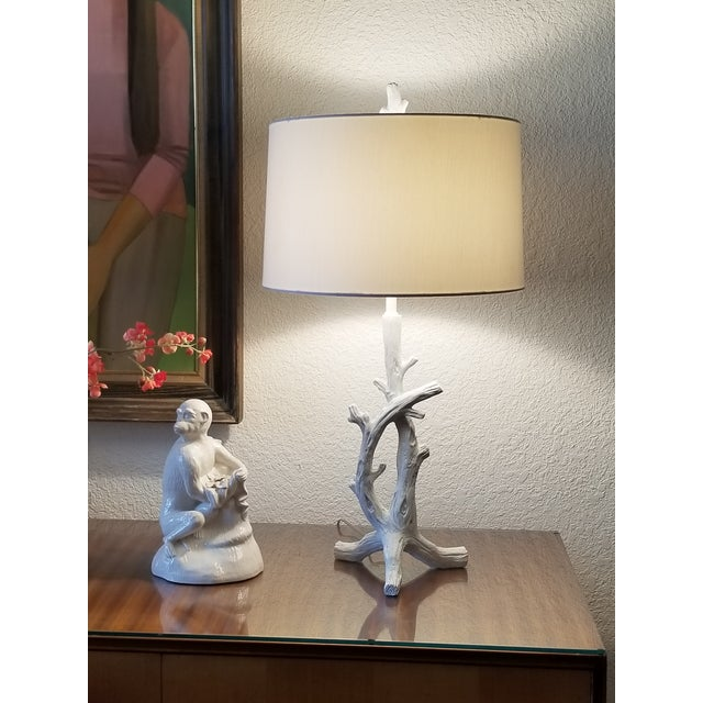 White White Faux Bois Bedside Table Lamps in the Style of Serge Roche - a Pair - Mid Century Modern Palm Beach Boho Chic For Sale - Image 8 of 9