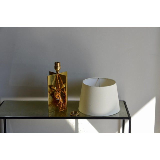 "2010s Contemporary ""Croissillon"" Polished Brass and Parchment Table Lamp For Sale - Image 5 of 8"