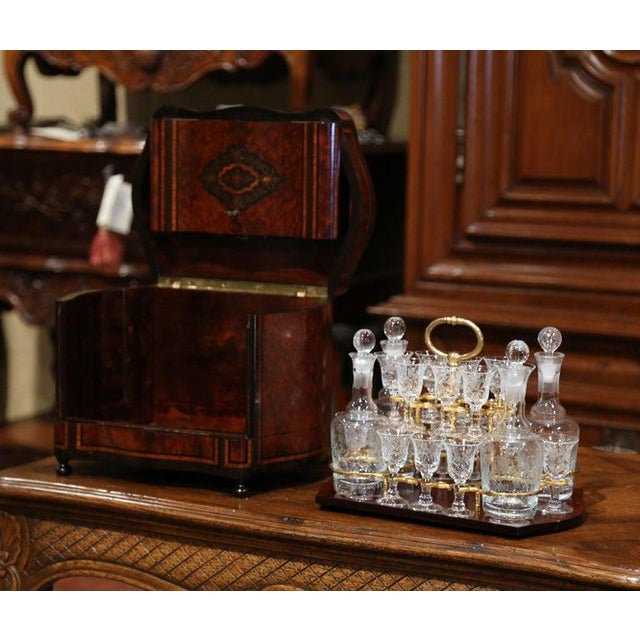 French 19th Century French Napoleon III Walnut and Burl Complete Cave a Liqueur For Sale - Image 3 of 13