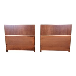 Paul McCobb for Calvin Mahogany and Brass Twin Headboards, Pair For Sale