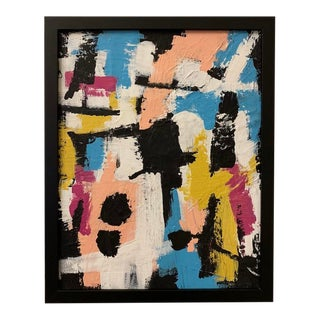 Original Pop Art Inspired Framed Abstract Painting For Sale