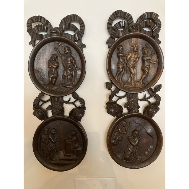 Carved Wooden Wall Plaques - a Pair For Sale - Image 4 of 7
