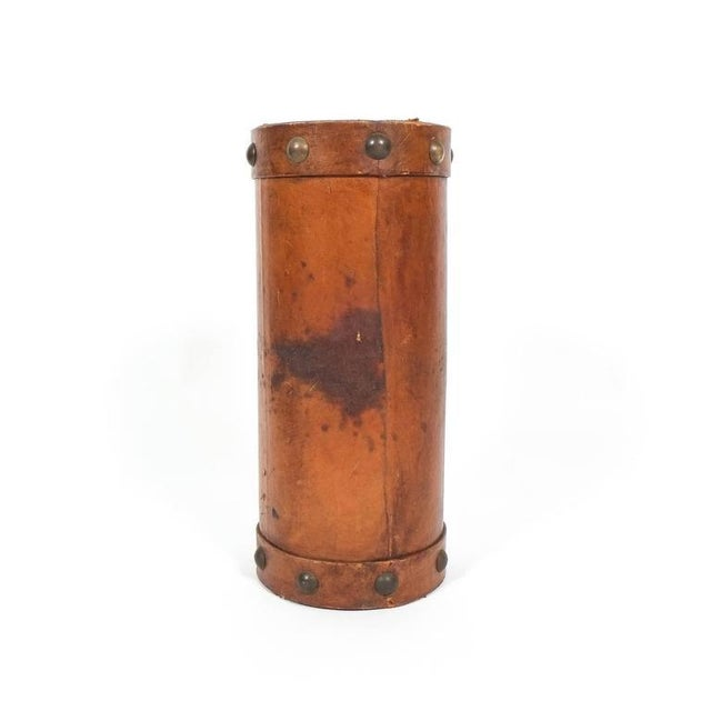 French Leather Umbrella Stand with Brass Knobs, France, circa 1950 For Sale - Image 3 of 4