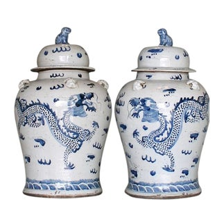 Blue & White Dragon Jars - A Pair