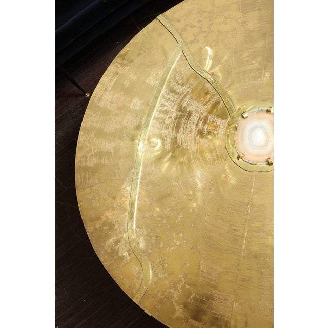 Agate Spectacular Round Etched Brass and Agate Cocktail Table For Sale - Image 7 of 10