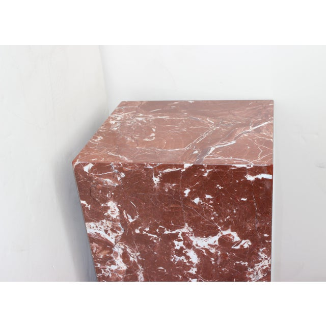 Modern Rouge Marble Pedestal For Sale - Image 3 of 11