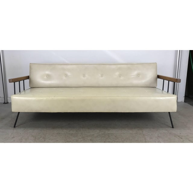 1950s Classic Modernist Iron and Wood Sofa/Daybed in the Manner of Weinberg-Salterini For Sale - Image 5 of 10