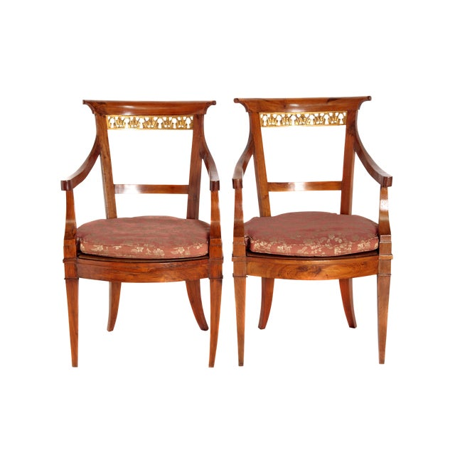 Pair of Italian Neoclassical Armchairs For Sale