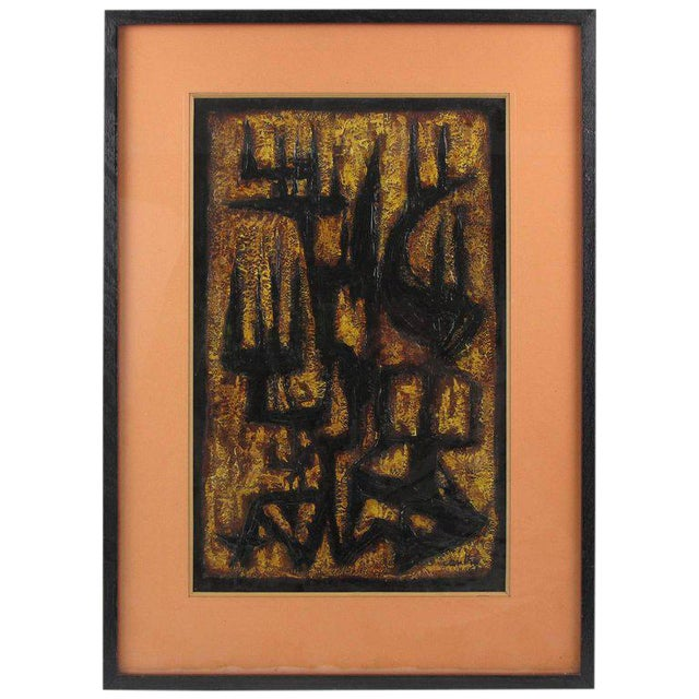 Image of 1961 Signed Canthi Modernist Brutalist Mixed Media Painting