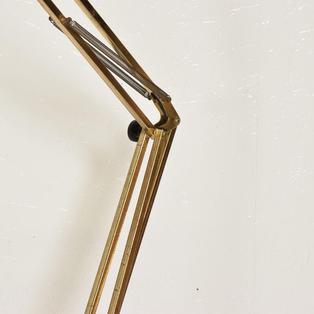 Aluminum Mid-Century Modern Vintage Brass Floor Drafting Architect Lamp by Luxo For Sale - Image 7 of 8
