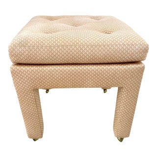 Pillow Top Tufted Ottoman on Brass Castors For Sale